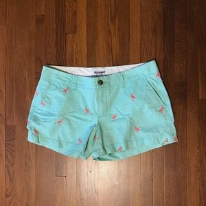 Women's flamingo pattern cotton shorts size 6